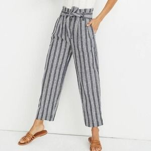 Madewell Paperbag Pants Deep Indigo Stripe 2